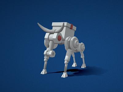 White bull robot 2021 robot bull ny white illustration c4d 3d