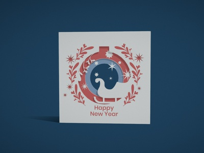 NY greeting card card ornament colorful illustration c4d 3d