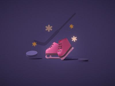 Ice skates pink hockey icons web holidays ny winter ice ice skates colorful illustration c4d 3d