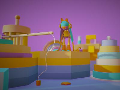 Toy island (low poly) camera robot toys concept design web colorful illustration c4d 3d