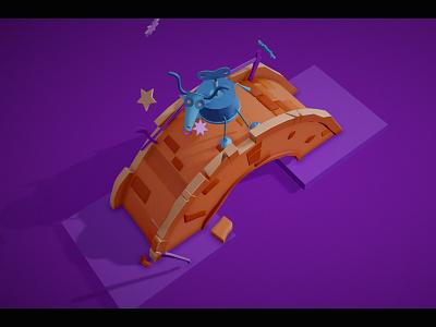 Bridge: new, half-destroyed and destroyed draft robot cow bridge design web colorful illustration c4d 3d