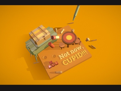 Not now, Cupid!!! bullet draft game shooter st valentine love aim red web colorful illustration c4d 3d