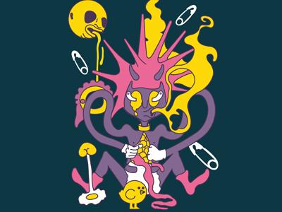 Daemonical Eye - Punk Baby modern art illustration psychadelic punk baby baby madness punk trash