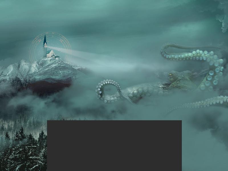 Chtulhu is alive! castle fog photomanipulation chtulhu design horror