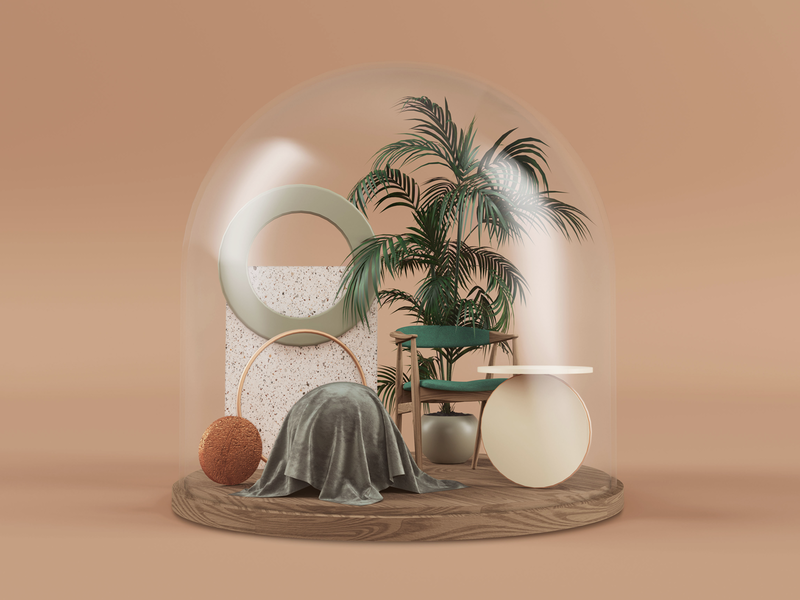 Home terrarium terrazzo render plants interior home gold glass geometry design copper cinema4d chair c4d architecture abstract 3d