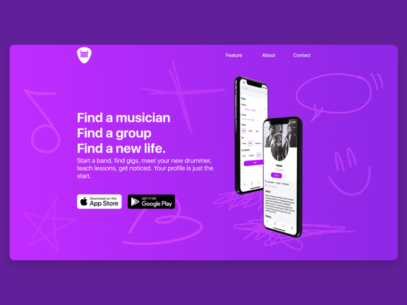 Web page social app for musicians social rock music logo ios shadows mobile figma app ui concept design