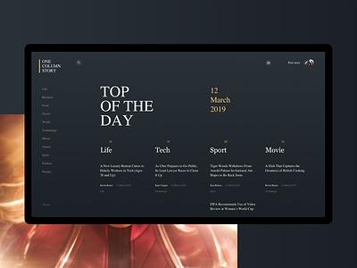 OCS :: Mainpage stories news webdesign interface interaction design web design dark clean minimal ux website ui