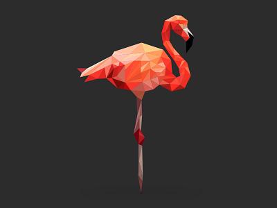 Low Poly Flamingo flamingo animals poly low