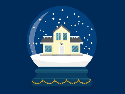 Illustration for EDC illustration house edc snowglobe snow christmas