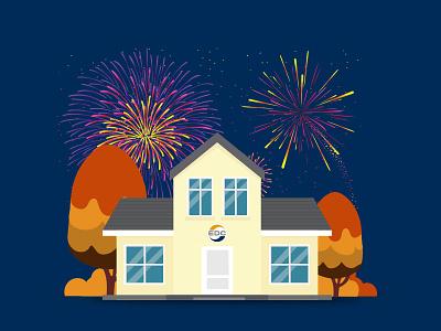 Illustration for EDC edc illustration house fireworks new years
