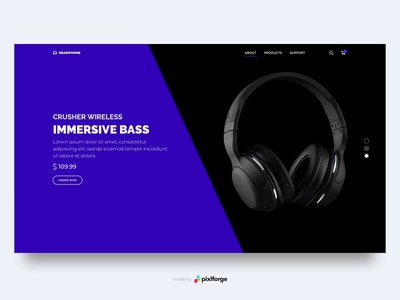 Headphone headphone website pixlforge webdesign uiux interface design interface web design