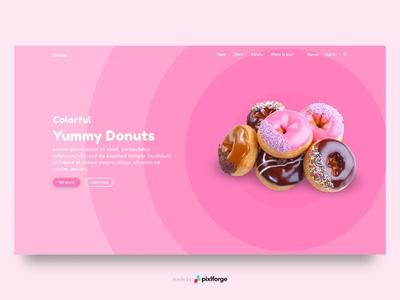 Yummy Donuts pink donuts website webdesign uiux web pixlforge interface design interface design