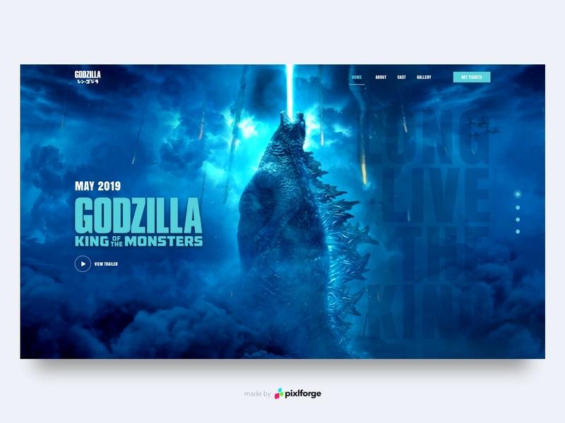Godzilla blue movie godzilla branding website webdesign web uiux pixlforge interface design interface design