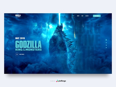 Godzilla blue movie godzilla branding website webdesign web uiux pixlforge interface design interface design