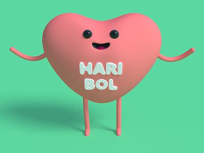 Hug? character illustration haribol hug heart c4d 3d