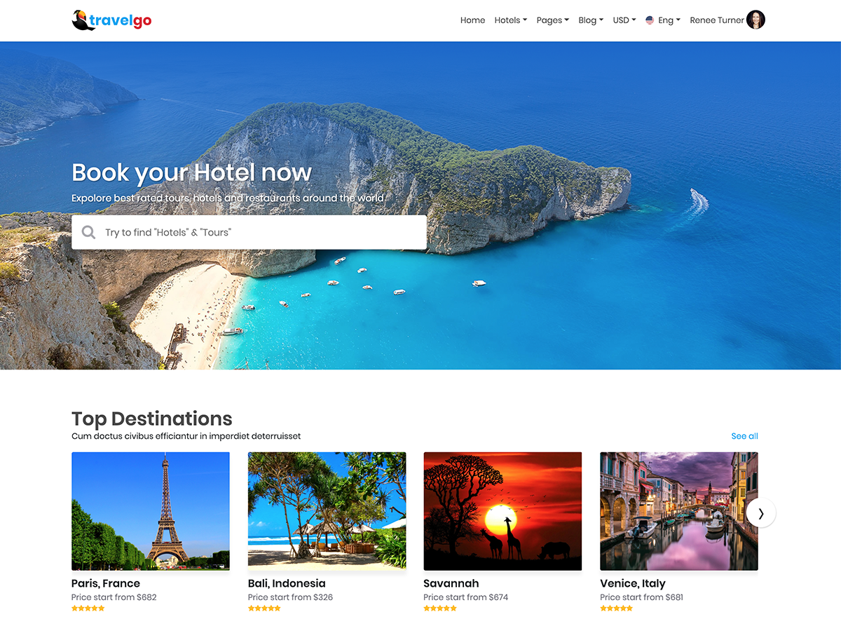 TravelGo - Travel and Tours Listings HTML Template by RexQ