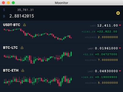 Moonitor App - Live Cryptocurrency App for Desktop