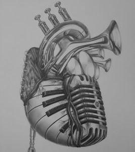 Heart of Music  heart pencil music heart of music organ guitar micriphone drums trumpet
