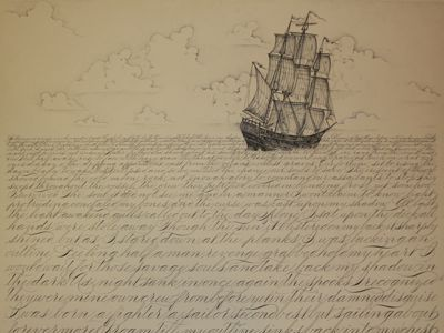 Semblance ship schooner nautical script sea ocean water spencerian waves