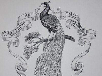 Proud Art peacock bird banner flourish art calligraphy typography lettering illustration