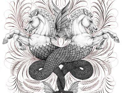 Seahorses calligraphy illustration seahorse greek flourishing pen horse nautical
