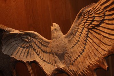 Ascending Grace falcon bird antler moose carving sculpture wings