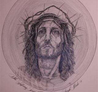 Single Stroke  calligraphy art illustration jesus christ portrait