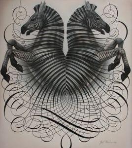 Indivisible  calligraphy illustration flourishing pen horse zebra