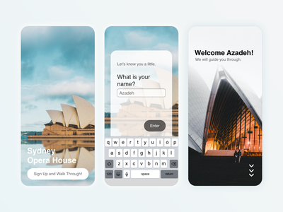DailyUI 001 - Sign Up to Opera House App user inteface ui name walkthrough welcome submit app daily 100 challenge dailylogochallenge mobile design mobile application product design sydney opera house sign up signup daily ui dailyui