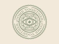 Come Together Badge vintage design retro detail chain eye come together