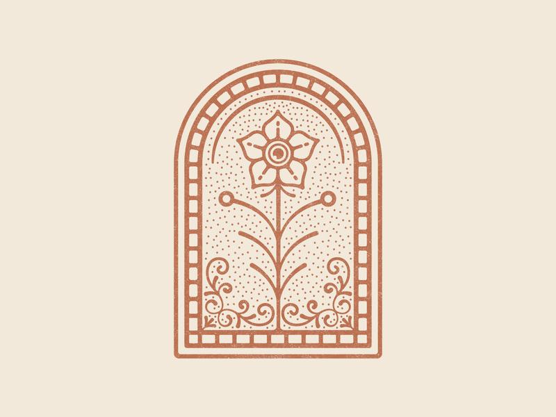 Flower Badge flower logo badge design life orange red vintage ornate flower illustration flower badge