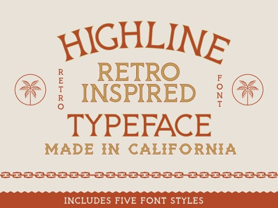 HIGHLINE Font beach california modern font stamp design illustration chain palm for sale vintage font retro vintage badge vintage typeface font