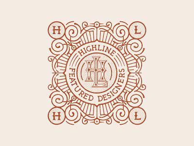HIGHLINE Badge textured badge red monogram logo monogram vintage badges distressed font design retro font typography type collaboration vintage badge retro badge design