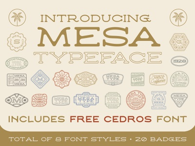Mesa Typeface western california beach surf label design lettering clean type postage stamp design badge design logo bundle retro typeface vintage font new font typeface