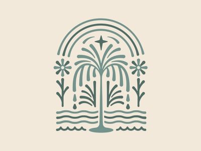 Earth Day star tree logo vines ornate design detailed design composition sustainability rain gritty retro design vintage design water waves rainbow sun flower california palm tree earth day