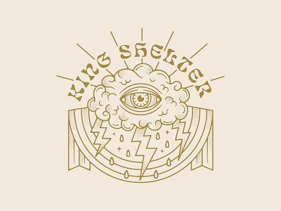 Band Merch Illustration typedesign vintage badge badge design eye design stipple retro vintage design traditional tattoo lightning bolts lightning bolt bandmerch tattoo cloud illustration merch