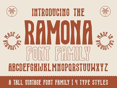 Ramona Typeface | Vintage Font western logo illustration vintage design california eye design badge design beer design tall font mystical font psychedelic font groovy font retro font lettering typography vintage type type design