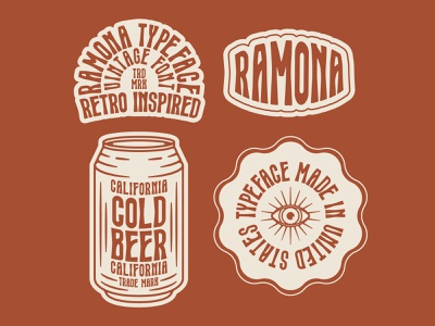Ramona Typeface   Vintage Font western logo illustration vintage design california eye design badge design beer design tall font mystical font psychedelic font groovy font retro font lettering typography vintage type type design