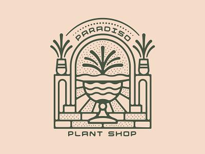 Plant Shop Branding flower design ornate logo nienowbrand leaf tree plant shop jungle monstera california retro design vintage design plant badge paradiso atlanta palm fern plant logo plant design pant
