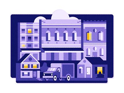 Night Owls noise buildings house town truck neighborhood night design vector illustration