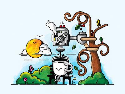 Fueled by Nature machine bench park sun tree birds mug coffee design vector illustration