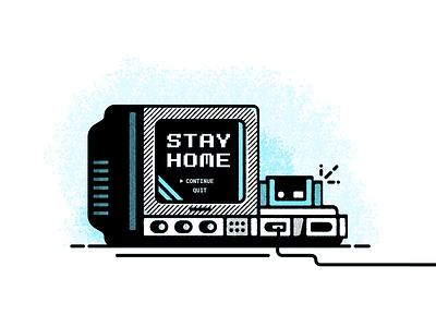 Game On tube tv stay home retro player one nintendo coronavirus 90s design video games vector illustration