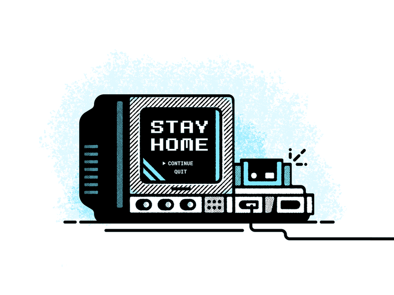 Game On tube tv stay home retro player one nintendo coronavirus 90s design video games vector illustration