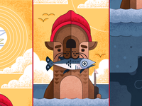 Stevesie 2.0 ocean movie bill murray otter the life aquatic wes anderson vector graphic design illustration