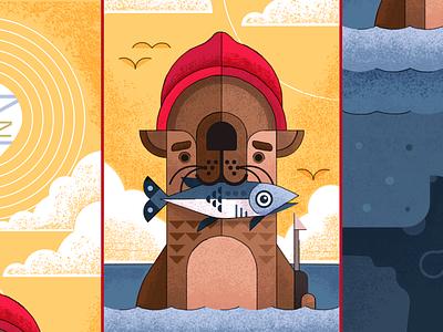 Stevesie 2.0 ocean movie bill murray otter the life aquatic wes anderson vector graphic design illustration