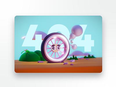 Flat 404 clouds tire bike ipad nomad sculpt graphic design 3d ui