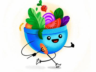 Go Fork It! ipad procreate boots fork bowl veggies salad illustration