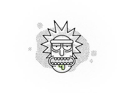 Sick Rick rick and morty toons icon rick vector illustration