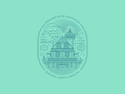 River Light water coastal river lighthouse identity vector illustration