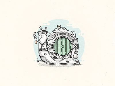 Snailbo challenge pipe hobbit 52weeks lotr bilbo snail vector illustration